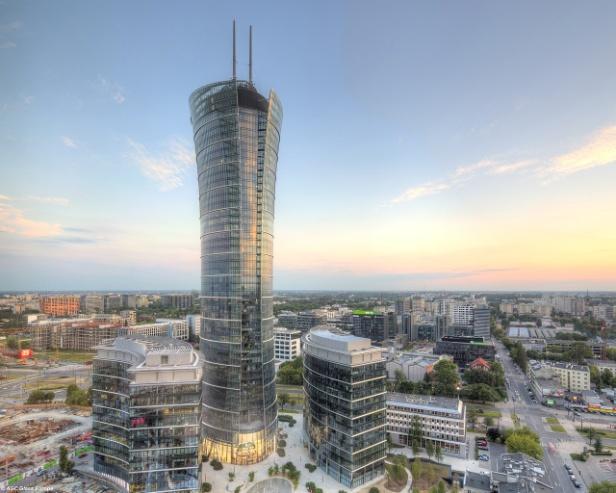 Warsaw_Spire, 2017 zog die EU-Behörde Frontex in den Ostturm der Warsaw Spire um, AGC Glass Europe, CC BY 2.0.jpg