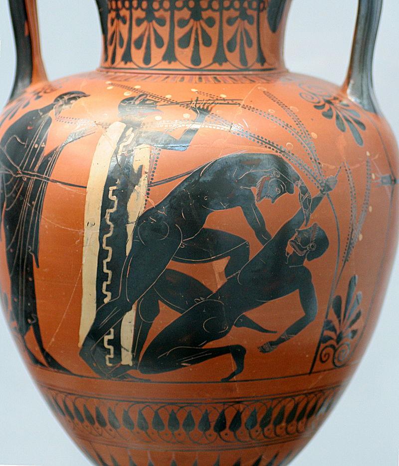 800px-Boxers_Staatliche_Antikensammlungen_1538, Halsamphore, ca 510-500 v. Chr. Boxer wird mit Gerte geschlagen, weil er von Besiegtem nicht abläßt.jpg