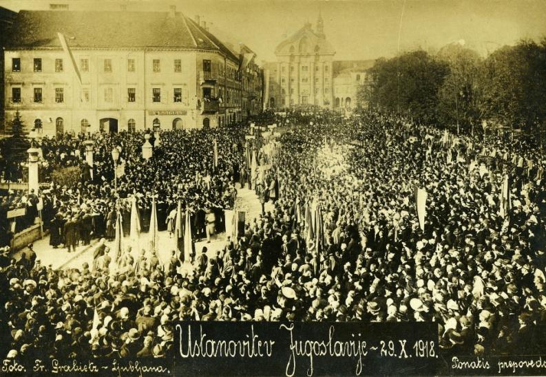 Slowenien, Ausrufung des Staates der Slowenen, Kroaten und Serben 1918 in Ljubljana, Fran Grabietz, Museum of Modern History, Ljub., Gemeinfrei.jpg