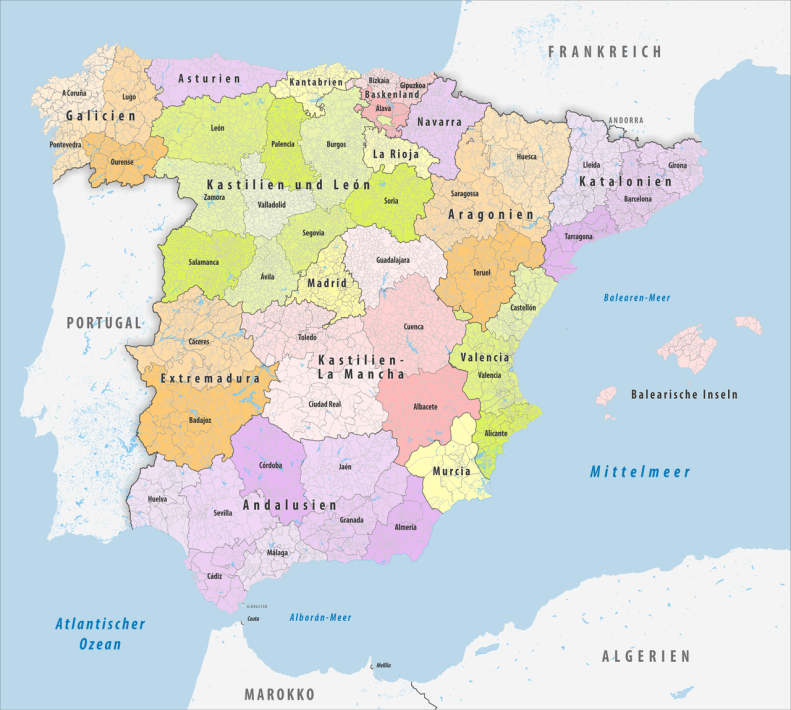 Spanien_2020, Administrative Gliederung, Tschubby, CC BY-SA 3.0.png