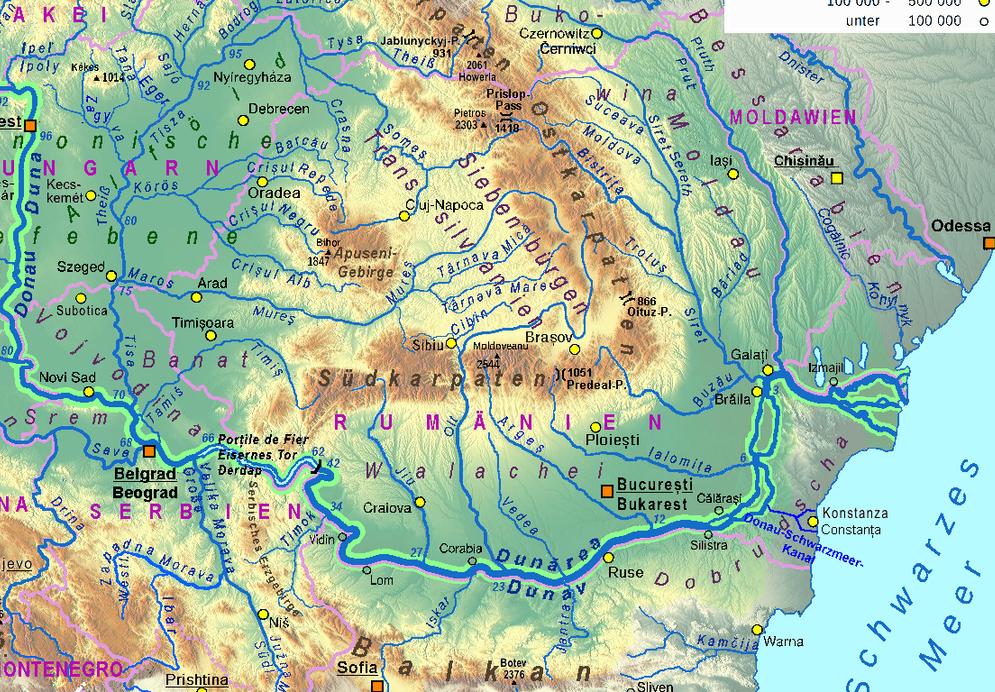 Donau_Einzugsgebiet, Teilkarte Rumänien, TonGonzales,major revision by Ulamm in 2016, CC BY-Sa 2.0.png